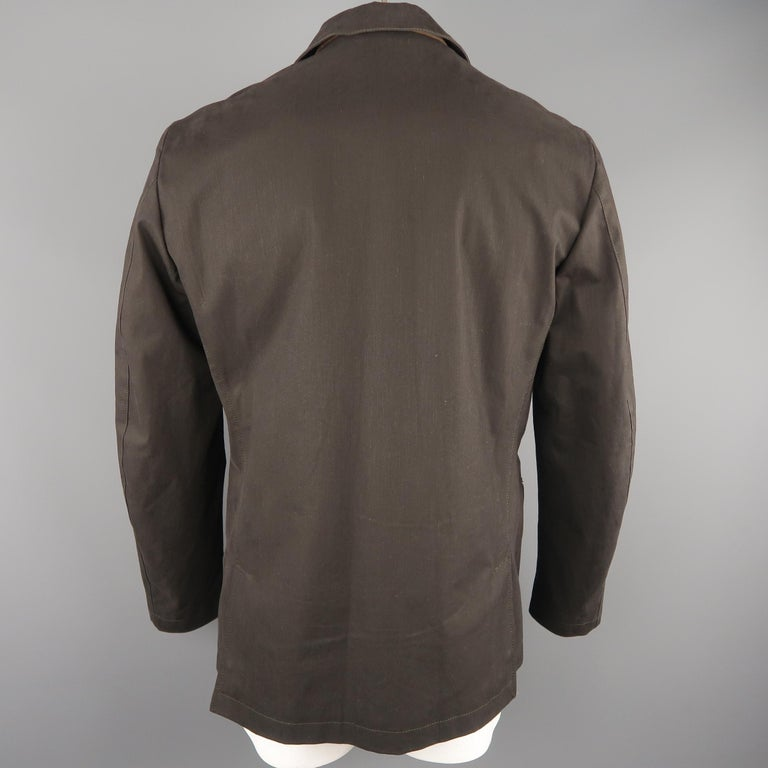 Men's LORO PIANA 42 Dark Taupe Twill Detachable Liner Military Jacket For Sale 2