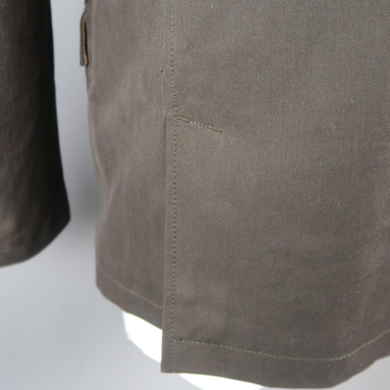 Men's LORO PIANA 42 Dark Taupe Twill Detachable Liner Military Jacket For Sale 1