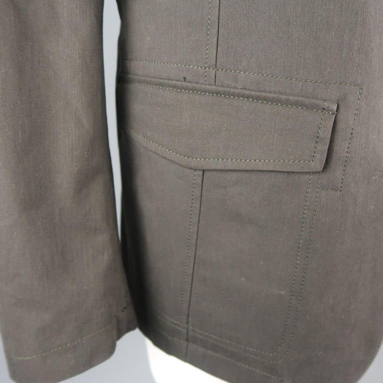 Women's or Men's Men's LORO PIANA 42 Dark Taupe Twill Detachable Liner Military Jacket For Sale