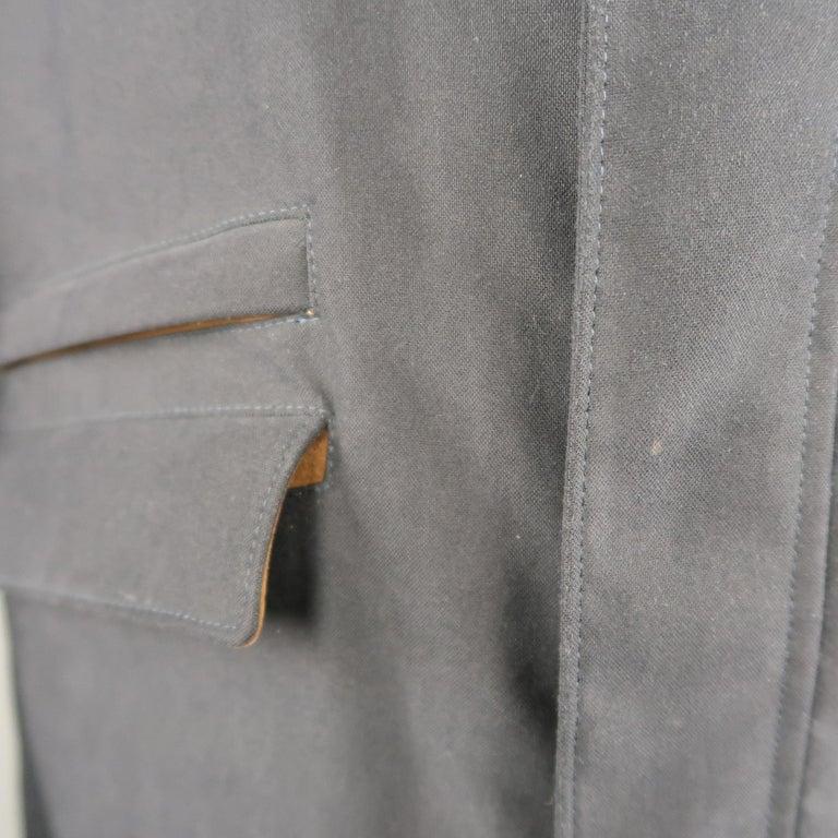 Black Men's LORO PIANA L Navy High Collar Storm System Coat For Sale