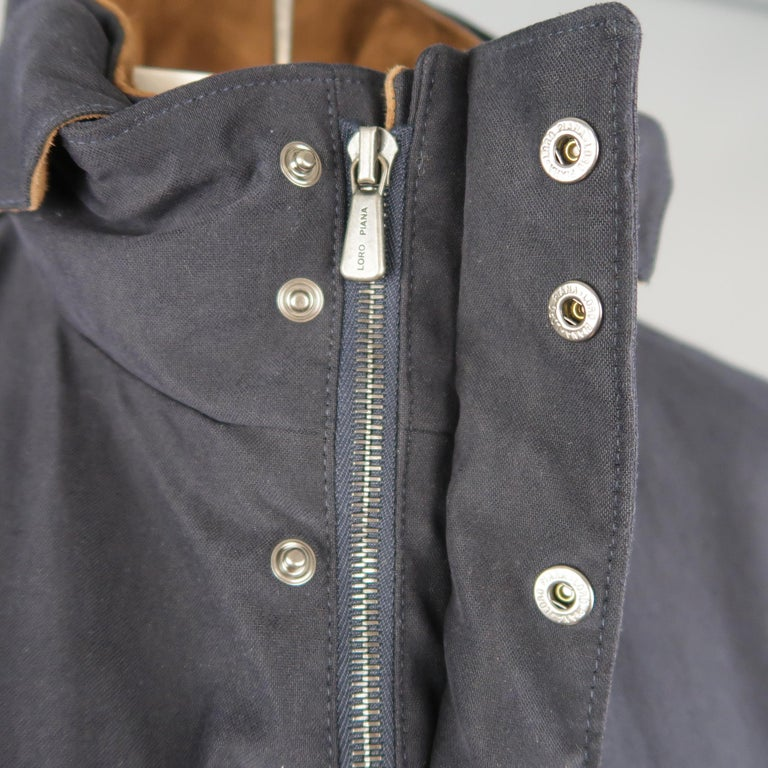 Men's LORO PIANA L Navy High Collar Storm System Coat In New Condition For Sale In San Francisco, CA