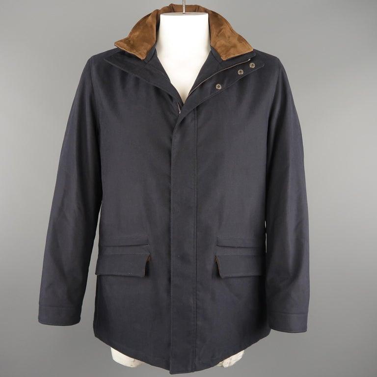 Men's LORO PIANA L Navy High Collar Storm System Coat For Sale 1