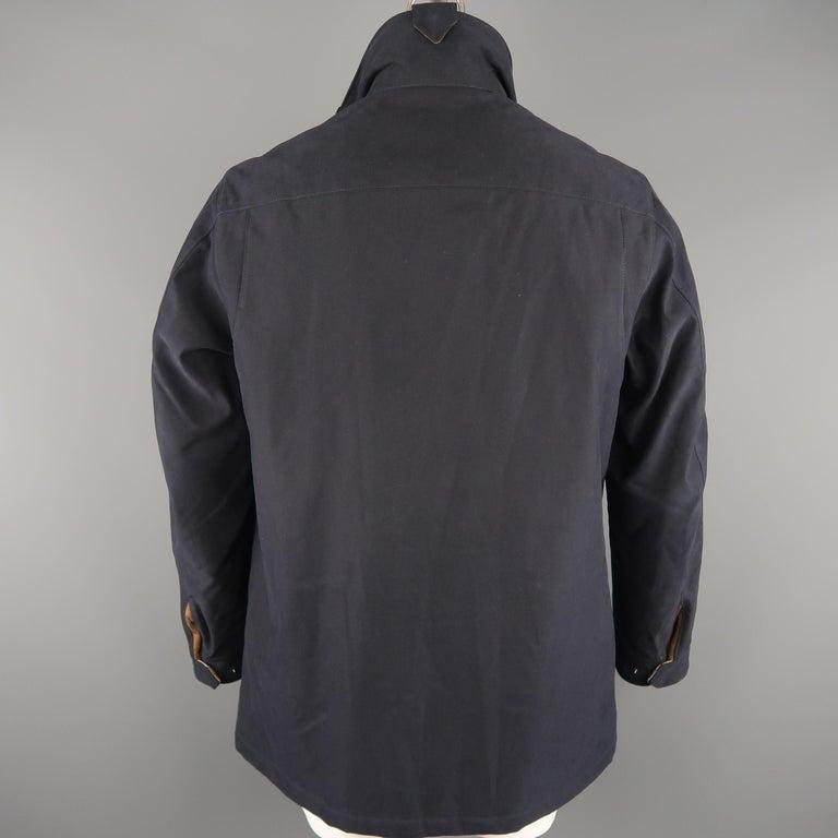Men's LORO PIANA L Navy High Collar Storm System Coat For Sale 2