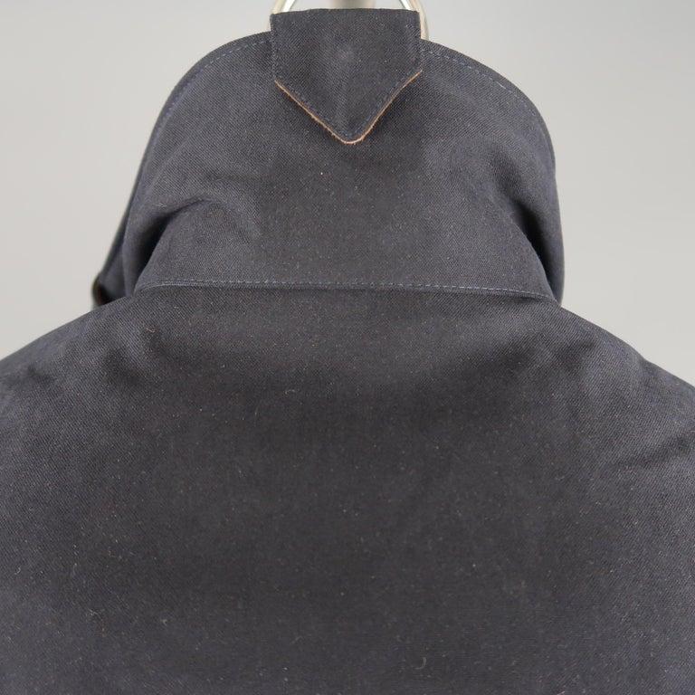 Men's LORO PIANA L Navy High Collar Storm System Coat For Sale 3