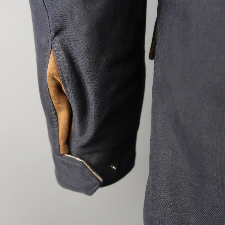 Men's LORO PIANA L Navy High Collar Storm System Coat For Sale 4