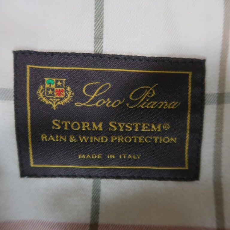 Men's LORO PIANA L Navy High Collar Storm System Coat For Sale 7