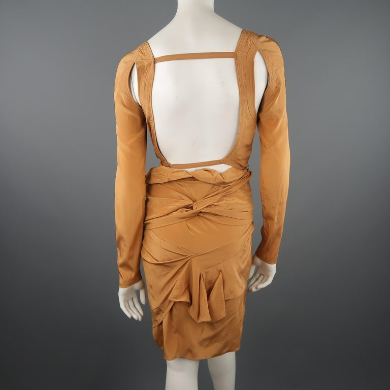 GUCCI - Spring 2005 Runway -Size 4 Tan Jeweled Bust Cutout Draped Cocktail Dress For Sale 9