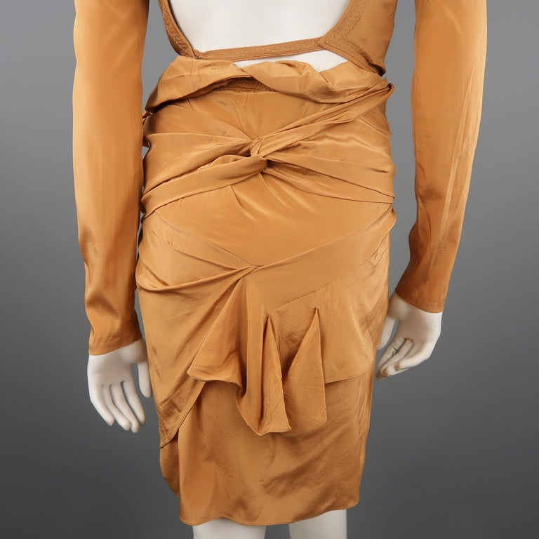 GUCCI - Spring 2005 Runway -Size 4 Tan Jeweled Bust Cutout Draped Cocktail Dress For Sale 8