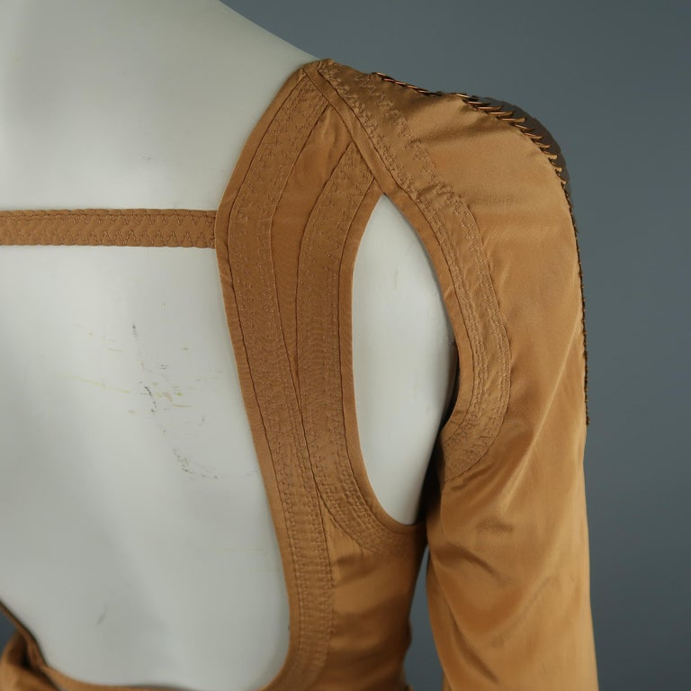 GUCCI - Spring 2005 Runway -Size 4 Tan Jeweled Bust Cutout Draped Cocktail Dress For Sale 7
