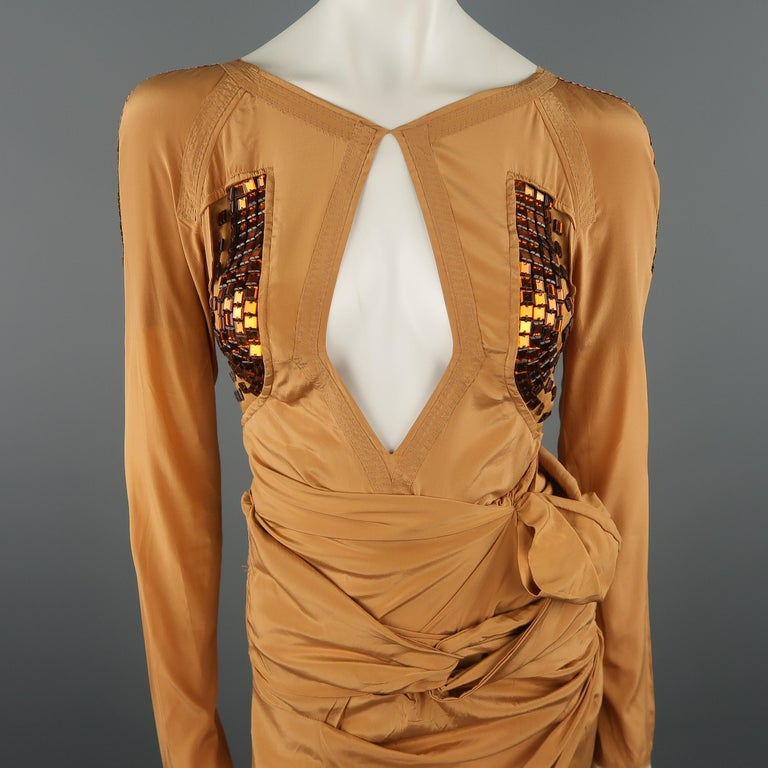 Orange GUCCI - Spring 2005 Runway -Size 4 Tan Jeweled Bust Cutout Draped Cocktail Dress For Sale
