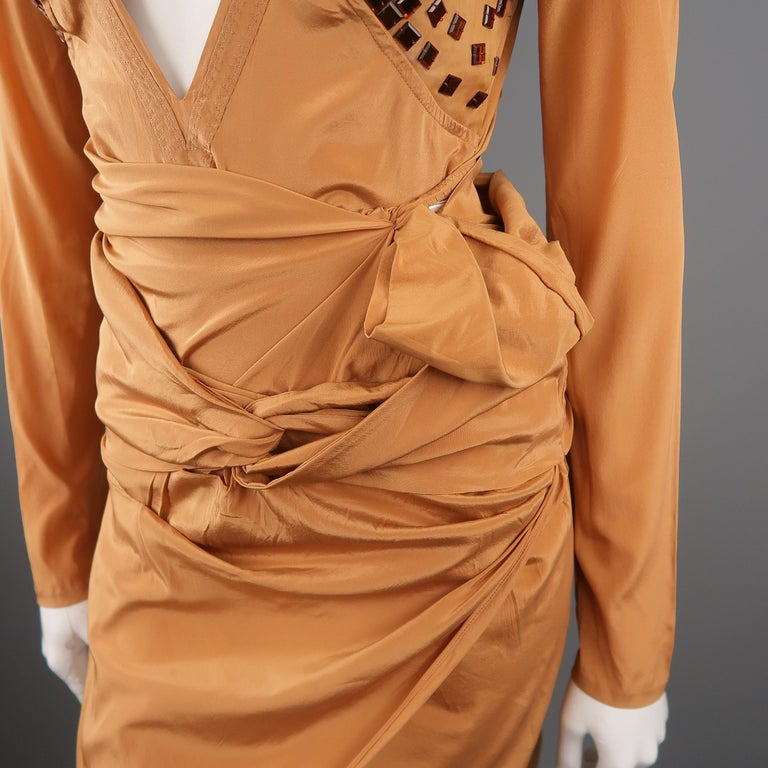 GUCCI - Spring 2005 Runway -Size 4 Tan Jeweled Bust Cutout Draped Cocktail Dress In New Condition For Sale In San Francisco, CA