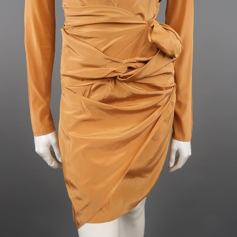 Women's GUCCI - Spring 2005 Runway -Size 4 Tan Jeweled Bust Cutout Draped Cocktail Dress For Sale