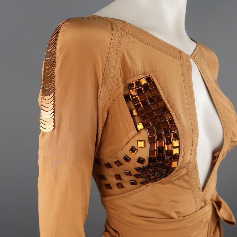 GUCCI - Spring 2005 Runway -Size 4 Tan Jeweled Bust Cutout Draped Cocktail Dress For Sale 2