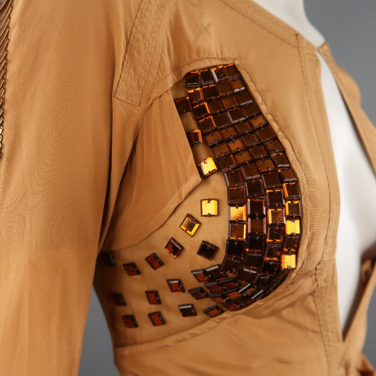 GUCCI - Spring 2005 Runway -Size 4 Tan Jeweled Bust Cutout Draped Cocktail Dress For Sale 3