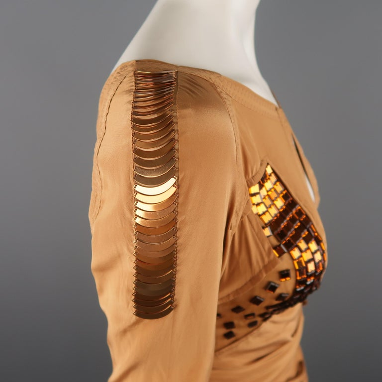 GUCCI - Spring 2005 Runway -Size 4 Tan Jeweled Bust Cutout Draped Cocktail Dress For Sale 5