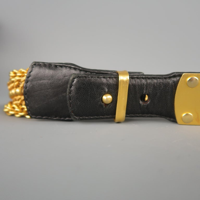 Vintage DONNA KARAN Black & Gold M Leather Chain Belt In Good Condition For Sale In San Francisco, CA