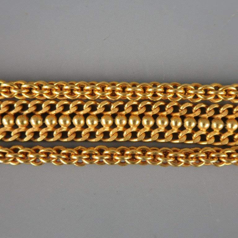 Vintage DONNA KARAN Black & Gold M Leather Chain Belt For Sale 3