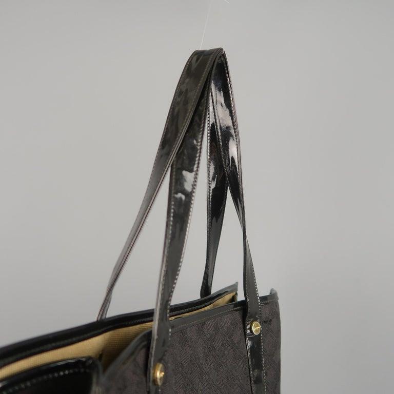 fa61ea567912 Vintage SALVATORE FERRAGAMO Black Monogram Patent Leather Trim Tote Bag For  Sale 4