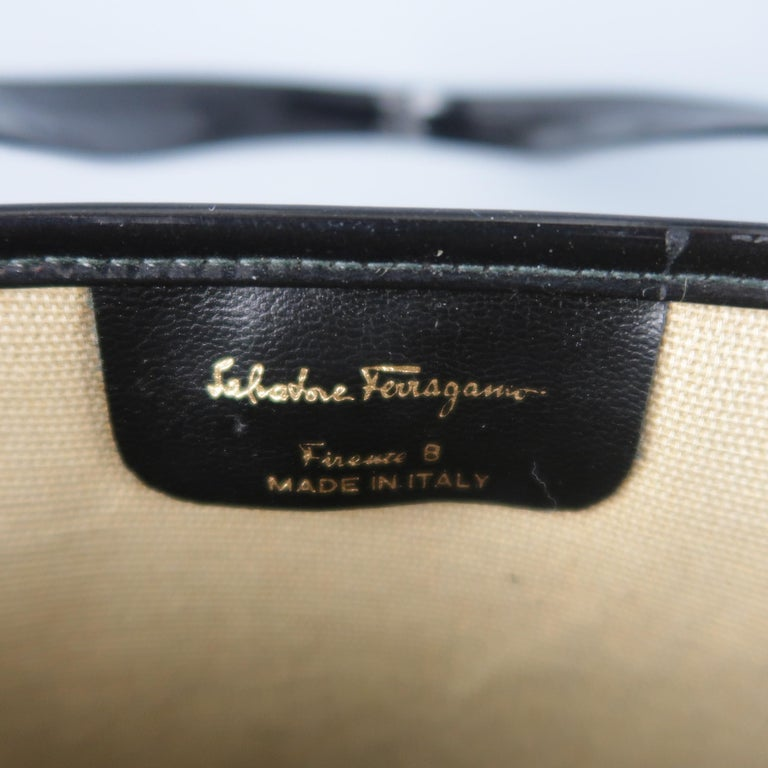 3de2b6c938bd Vintage SALVATORE FERRAGAMO Black Monogram Patent Leather Trim Tote Bag For  Sale 6