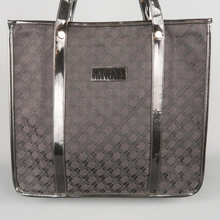 5898dd0dd9f6 Vintage SALVATORE FERRAGAMO tote bag   handbag comes in monogram print  fabric with patent leather piping