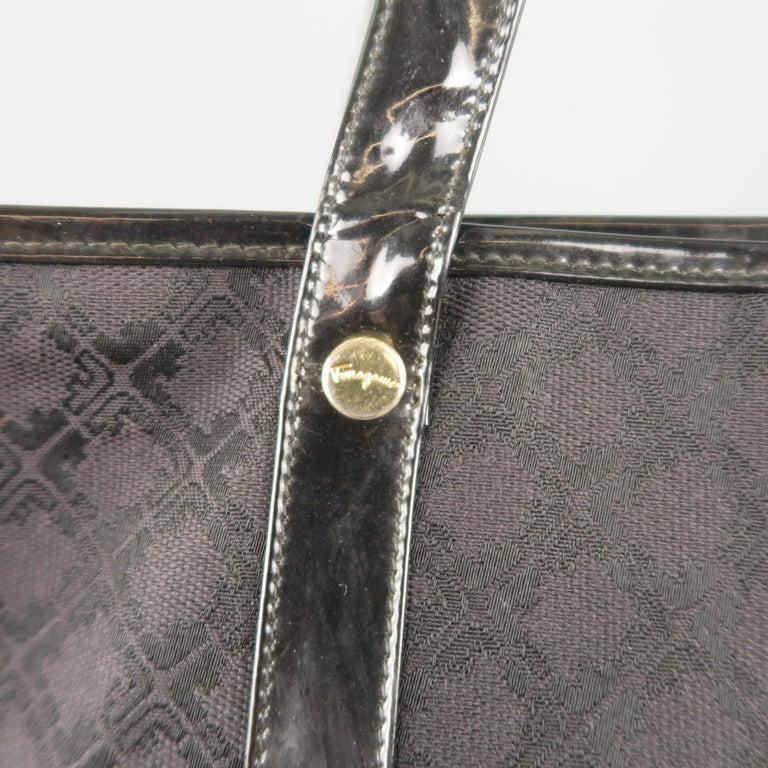 47654bf6bea2 Vintage SALVATORE FERRAGAMO Black Monogram Patent Leather Trim Tote Bag For  Sale 2