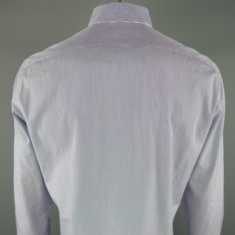 Men's KITON Size L Navy Pinstripe Cotton Dress Shirt For Sale