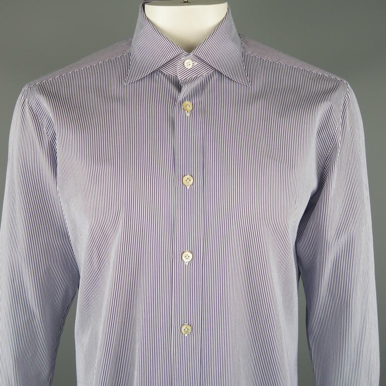 KITON Made to Measure long sleeve shirt comes in navy and white tones in pinstripe cotton material, with a spread collar, button up. Made in Italy.   Excellent Pre-Owned Condition. Marked: 16 1/2  / 42   Measurements:   Shoulder: 18  in. Chest: 46