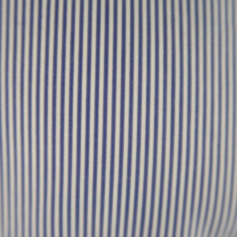 Gray KITON Size L Navy Pinstripe Cotton Dress Shirt For Sale