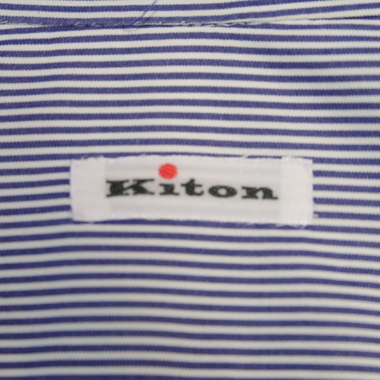 KITON Size L Navy Pinstripe Cotton Dress Shirt For Sale 2