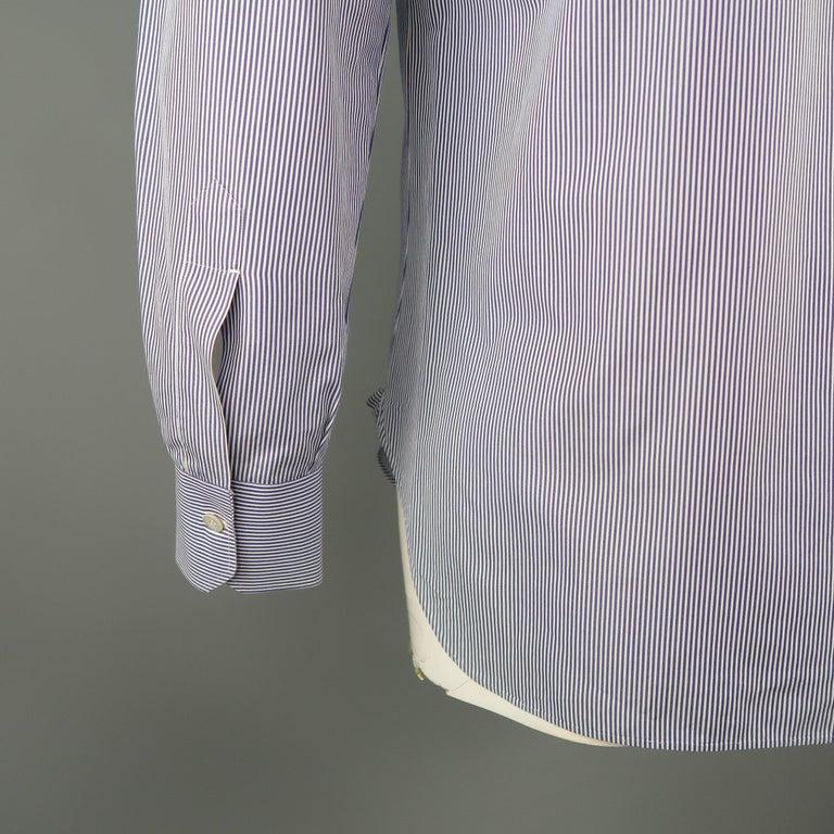 KITON Size L Navy Pinstripe Cotton Dress Shirt For Sale 1