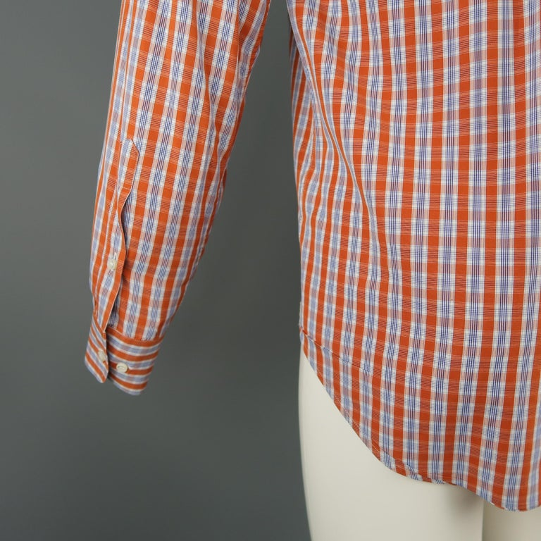 LORO PIANA Size S Orange Plaid Cotton Dress Shirt For Sale 3