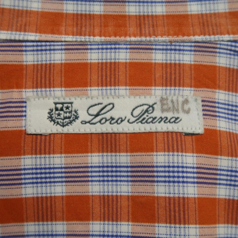 LORO PIANA Size S Orange Plaid Cotton Dress Shirt For Sale 4