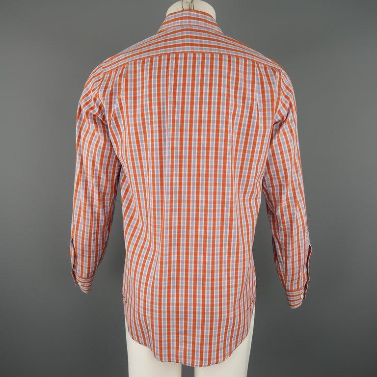 Men's LORO PIANA Size S Orange Plaid Cotton Dress Shirt For Sale