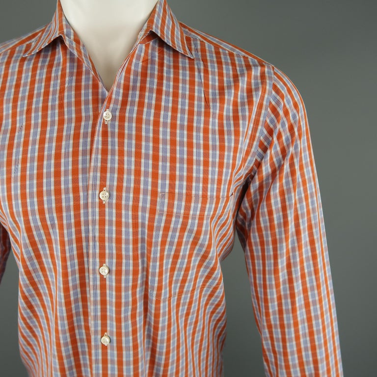 LORO PIANA Size S Orange Plaid Cotton Dress Shirt In Excellent Condition For Sale In San Francisco, CA