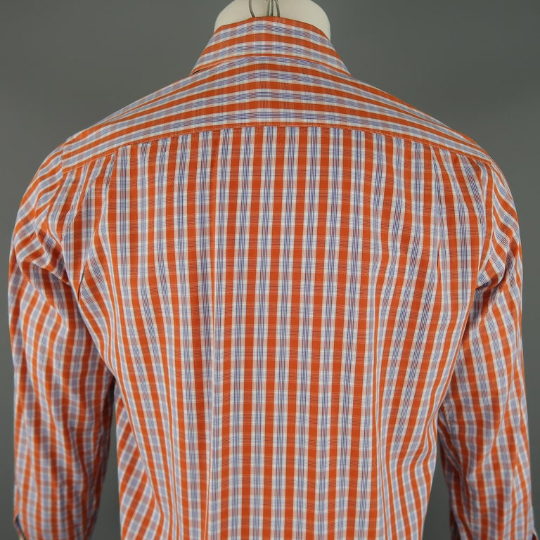 LORO PIANA Size S Orange Plaid Cotton Dress Shirt For Sale 1