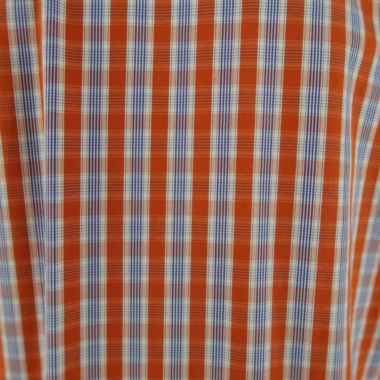 LORO PIANA Size S Orange Plaid Cotton Dress Shirt For Sale 2