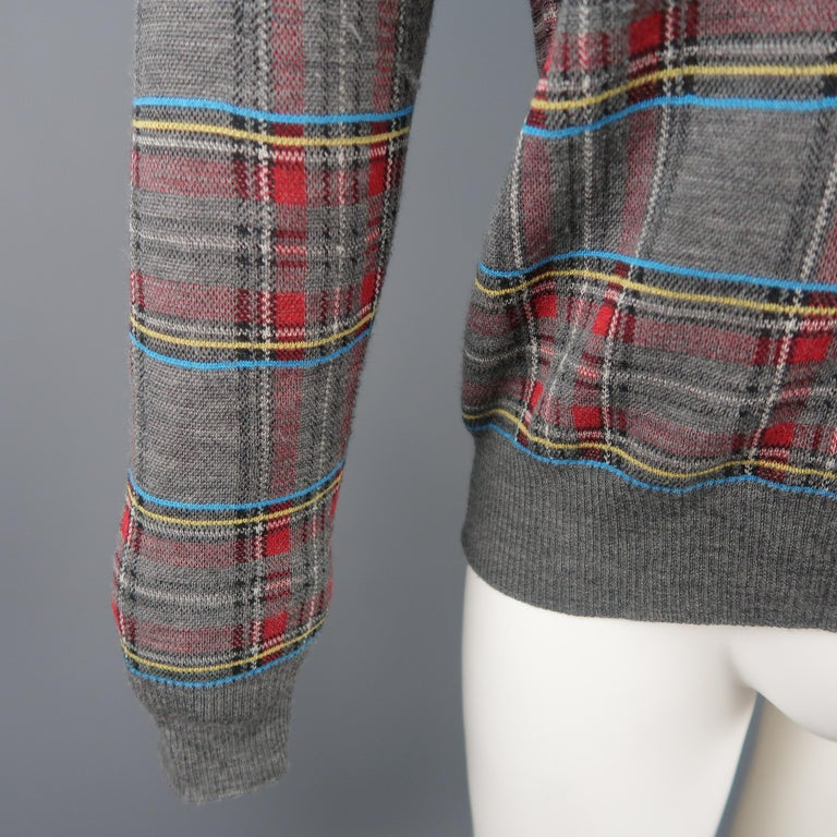JUNYA WATANABE Size S Gray Plaid Wool Blend V Neck Elbow Pad Pullover Sweater In Excellent Condition For Sale In San Francisco, CA