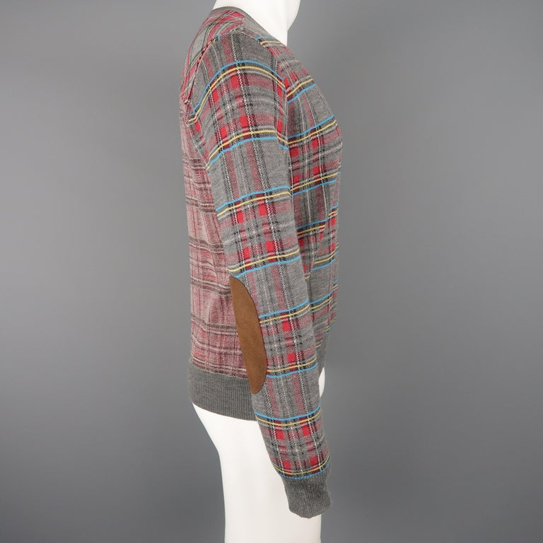 JUNYA WATANABE Size S Gray Plaid Wool Blend V Neck Elbow Pad Pullover Sweater For Sale 1