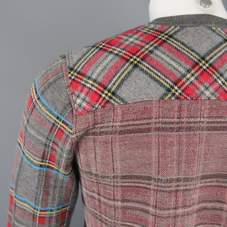 JUNYA WATANABE Size S Gray Plaid Wool Blend V Neck Elbow Pad Pullover Sweater For Sale 4