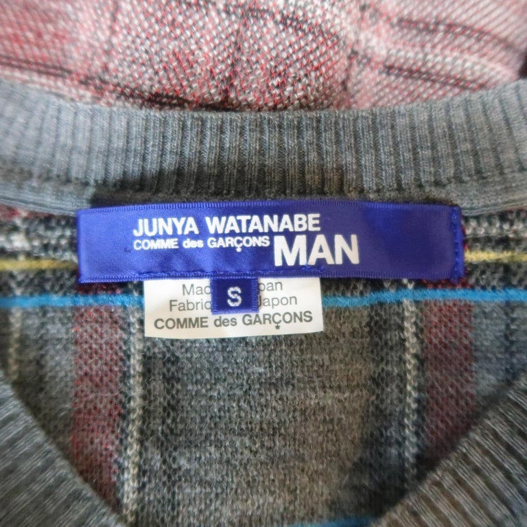 JUNYA WATANABE Size S Gray Plaid Wool Blend V Neck Elbow Pad Pullover Sweater For Sale 6