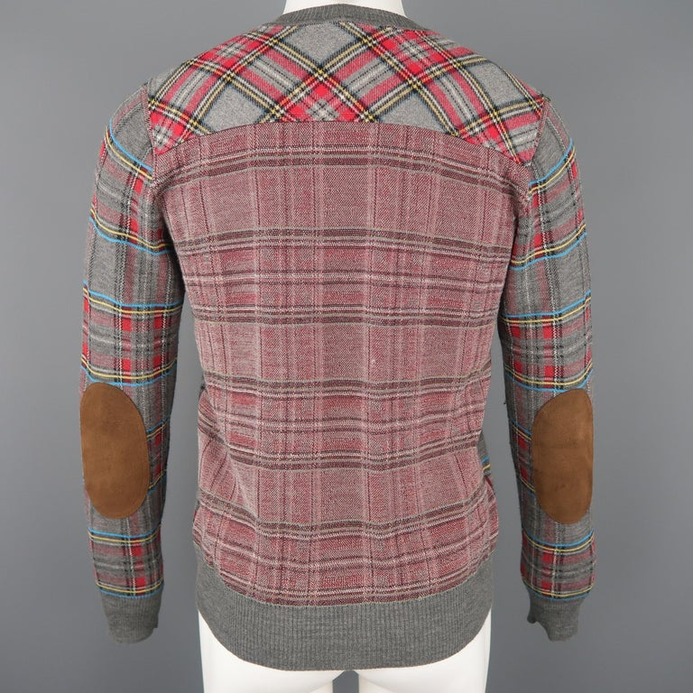JUNYA WATANABE Size S Gray Plaid Wool Blend V Neck Elbow Pad Pullover Sweater For Sale 2