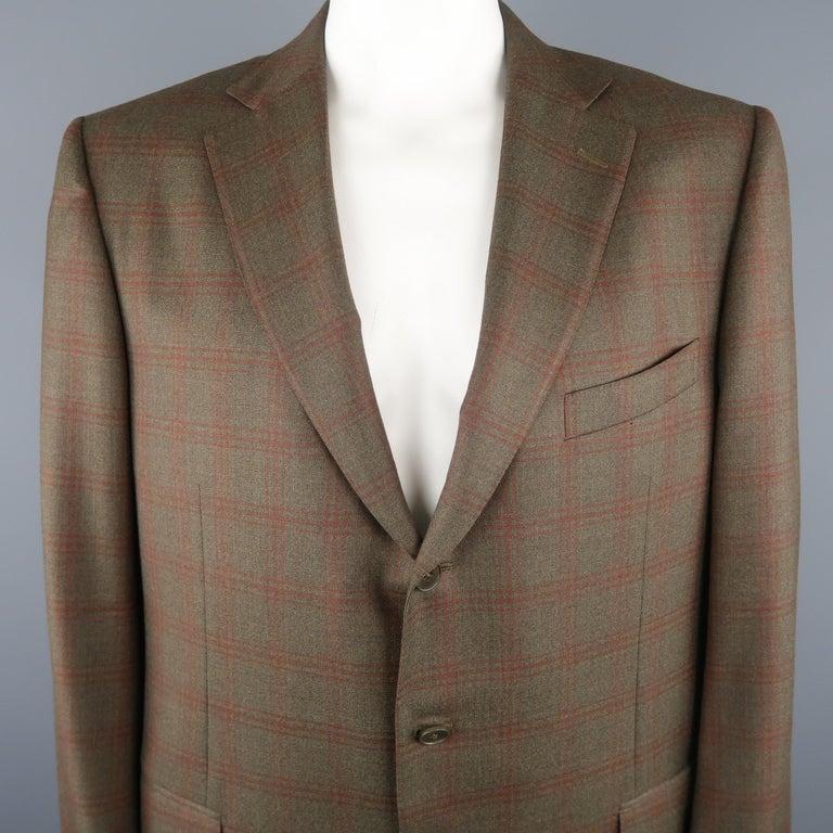 2193ab82 ERMENEGILDO ZEGNA 50 Regular Olive Plaid Wool Sport Coat