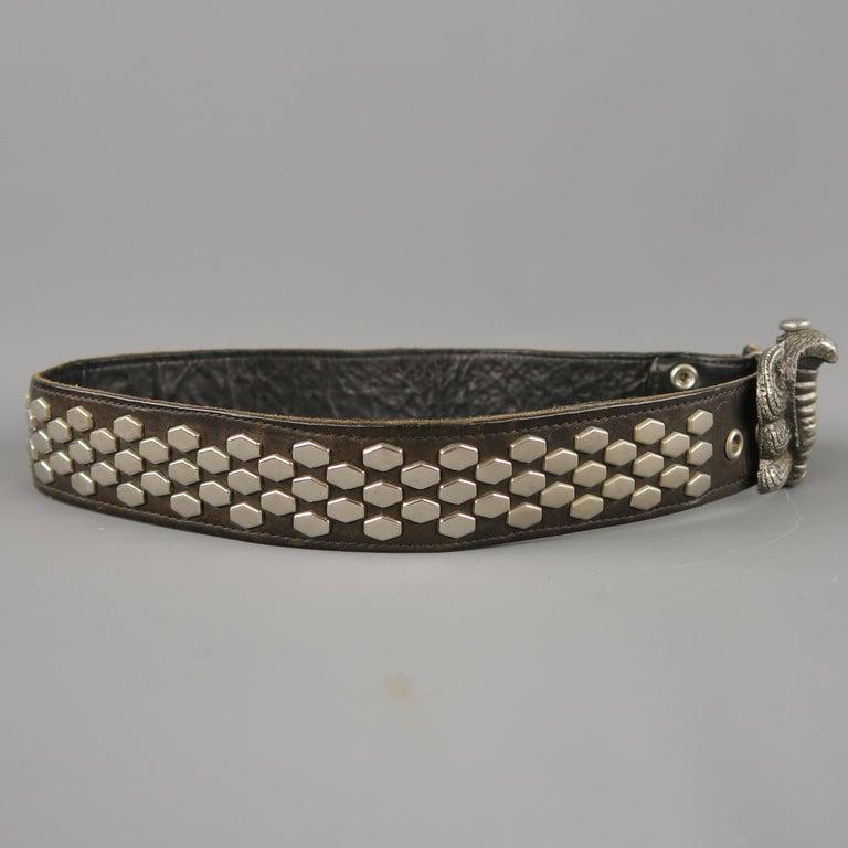 Women's or Men's Vintage INSTYLE 1979 Size 32 Black Studded Leather Cobra Buckle Belt For Sale