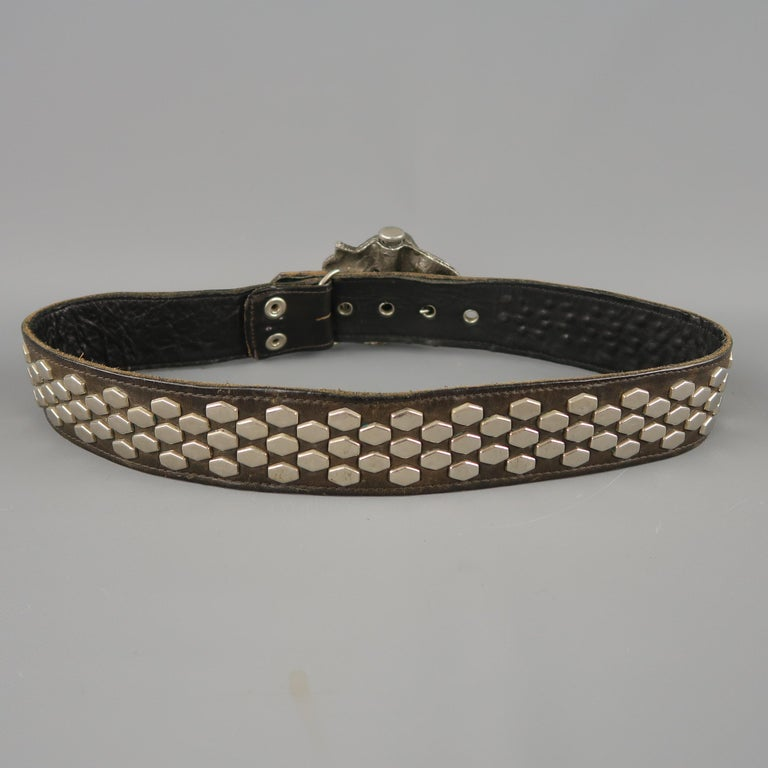 Vintage INSTYLE 1979 Size 32 Black Studded Leather Cobra Buckle Belt For Sale 1