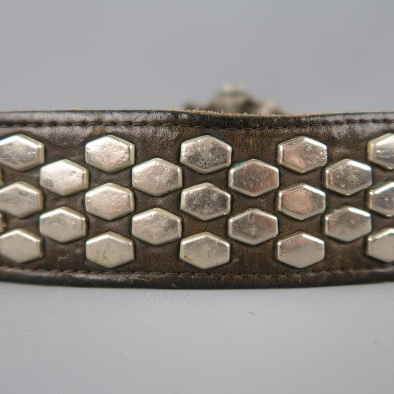 Vintage INSTYLE 1979 Size 32 Black Studded Leather Cobra Buckle Belt For Sale 2