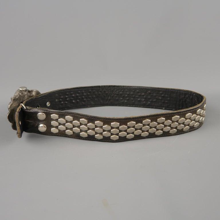 Vintage INSTYLE 1979 Size 32 Black Studded Leather Cobra Buckle Belt For Sale 3