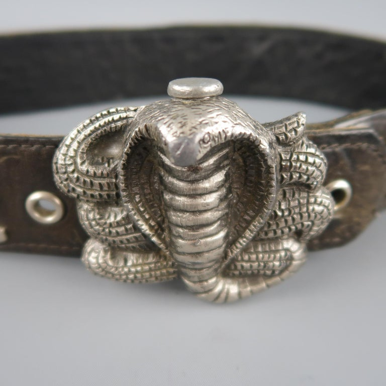 Vintage INSTYLE 1979 Size 32 Black Studded Leather Cobra Buckle Belt In Good Condition For Sale In San Francisco, CA