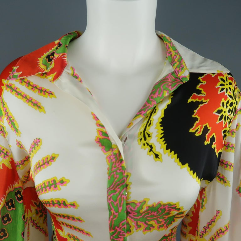 Roberto Cavalli Size 6 White Red Yellow And Green Abstract Floral