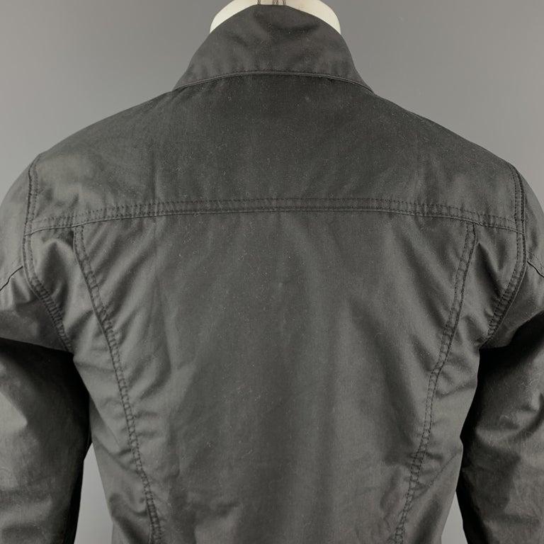 2ca593054 FILSON Size XS Black Coated Cotton Patch Pocket Button Up Trucker Jacket