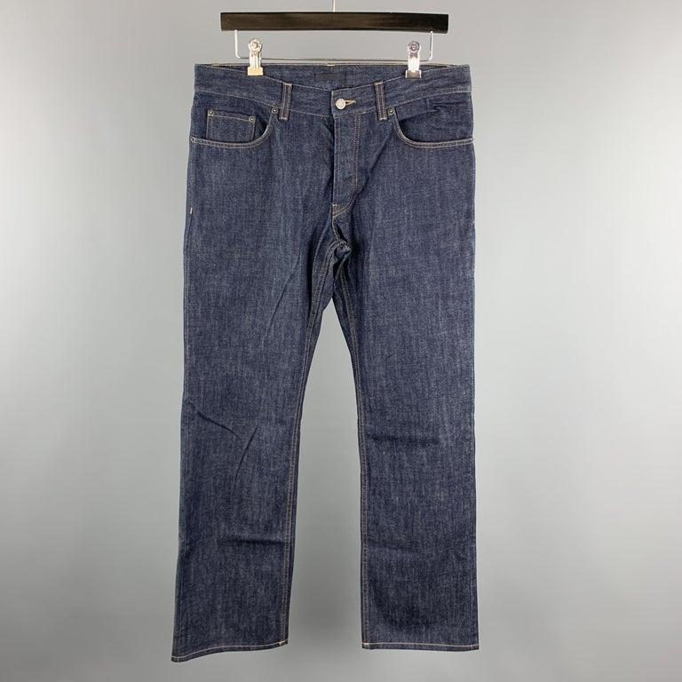 PRADA Size 33 Indigo Contrast Stitch Denim Button Fly Jeans For Sale